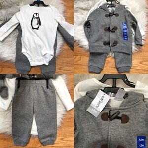 ❤️CARTER'S NEW 3 PCS Baby Boy Outfit 12 mo Penguin